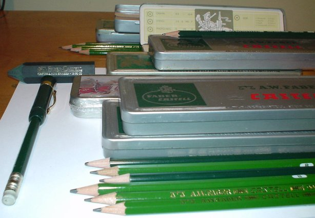An abundance of Faber Castell 9000 pencils.