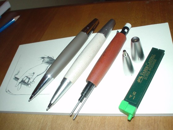 Three Faber Castell E-motion pencils at rest.