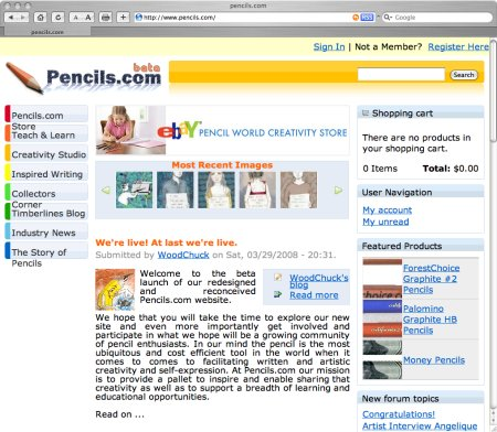 pencils.com website