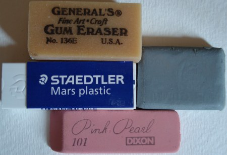 Erasers: The Pink Pearl, the Staedtler Mars plastic, and others.