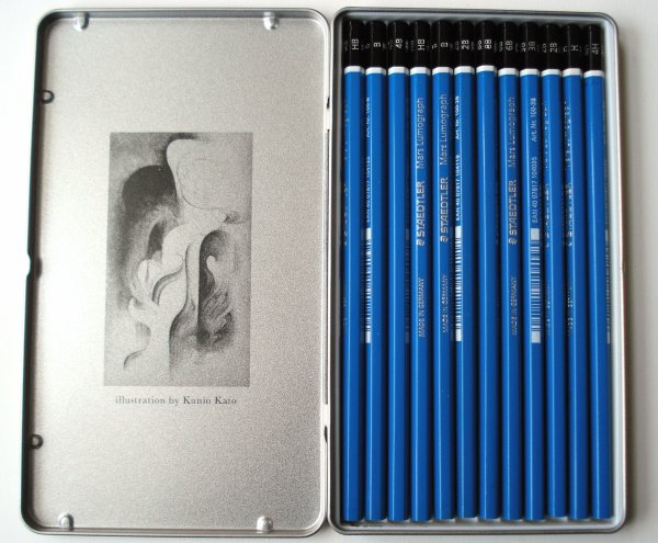 Staedtler Mars Lumograph 80th Anniversary edition, with illustration by Kunio Kato