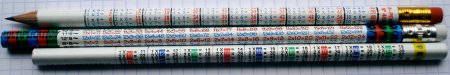 Multiplication table pencils
