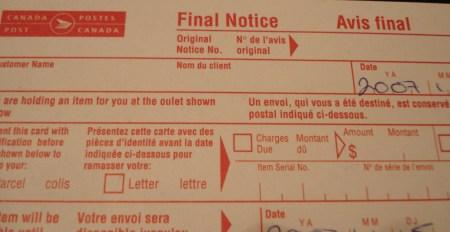 Canada Post Final Notice