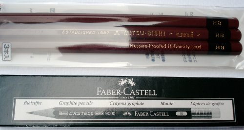 Uni and Castell 9000 pencils