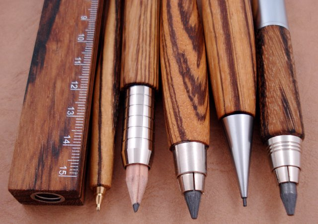 Zebrano wood writing implements