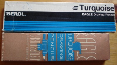 Boxes of Vintage Turquoise pencil.